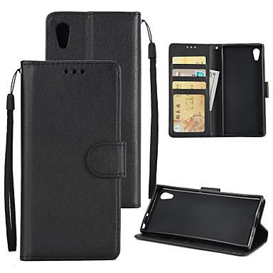 غطاء من أجل Sony Xperia XA1 Plus / Xperia XA1 محفظة / حامل البطاقات / ضد الصدمات غطاء كامل للجسم لون سادة قاسي جلد PU إلى Sony Xperia XZ / Sony Xperia XA1 Ultra / Xperia XA1 Plus