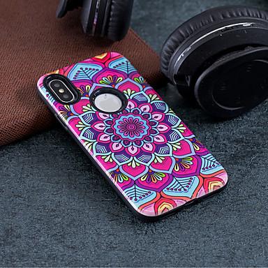voordelige iPhone 6 hoesjes-hoesje Voor Apple iPhone X / iPhone 8 Plus / iPhone 8 Schokbestendig / Reliëfopdruk / Patroon Achterkant Mandala / Bloem Hard PC
