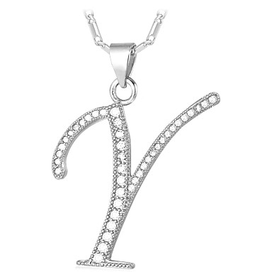 billige Mode Halskæde-Kvadratisk Zirconium lille diamant Halskædevedhæng Monogrammer Navn Damer Mode Guldbelagt Guld Sølv 55 cm Halskæder Smykker Til Daglig