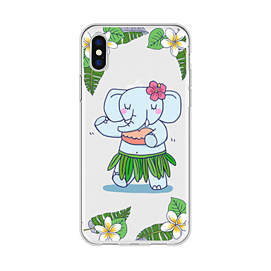 Etui Til Apple iPhone X / iPhone 8 Plus Mønster Bagcover Tegneserie / Elefant Blødt TPU for iPhone X / iPhone 8 Plus / iPhone 8