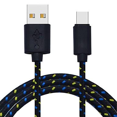 abordables Câbles pour Mac-Type-C Câble 2m-2.99m / 6.7ft-9.7ft Tressé Nylon Adaptateur de câble USB Pour Macbook / Samsung / Huawei
