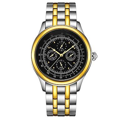 Χαμηλού Κόστους Ανδρικά ρολόγια-Ανδρικά μηχανικό ρολόι Αυτόματο κούρδισμα Ανοξείδωτο Ατσάλι Δέρμα Μαύρο / Καφέ 30 m Ημερολόγιο Φάση Σελήνης Αναλογικό Πολυτέλεια Βίντατζ - Μαύρο Χρυσό / Ασημί / Λευκό Χρυσό / Ασημί / Μαύρο
