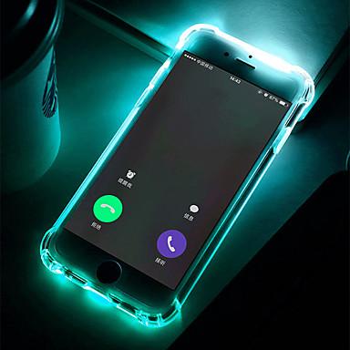 Недорогие Чехлы и кейсы для Galaxy S6 Edge-Кейс для Назначение SSamsung Galaxy S9 / S9 Plus / S8 Plus Защита от удара / Мигающая LED подсветка / Прозрачный Кейс на заднюю панель Однотонный Мягкий ТПУ