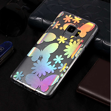 Недорогие Чехлы и кейсы для Galaxy S3-Кейс для Назначение SSamsung Galaxy S9 / S9 Plus / S8 Plus IMD / С узором Кейс на заднюю панель Бабочка Мягкий ТПУ