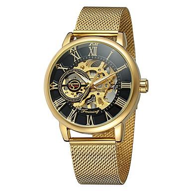 Χαμηλού Κόστους Ανδρικά ρολόγια-Ανδρικά Διάφανο Ρολόι μηχανικό ρολόι Ανοξείδωτο Ατσάλι Μαύρο / Ασημί / Χρυσό 30 m Ανθεκτικό στο Νερό Ημερολόγιο Εσωτερικού Μηχανισμού Αναλογικό Πολυτέλεια Σκελετός -