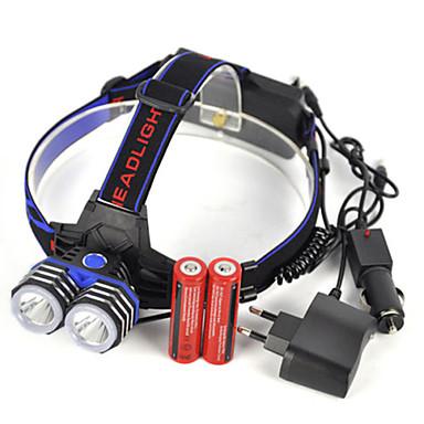 Torce frontali LED LED emettitori 5000 lm 1 Modalità di illuminazione Professionale Impermeabile Leggero Campeggio / Escursionismo / Speleologia Uso quotidiano Immersione / Nautica Blu