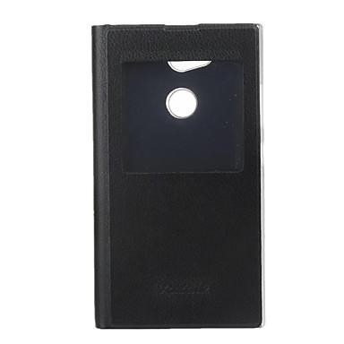 voordelige Hoesjes / covers voor Sony-hoesje Voor Sony Xperia L2 met venster / Flip / Ultradun Volledig hoesje Effen Hard PU-nahka