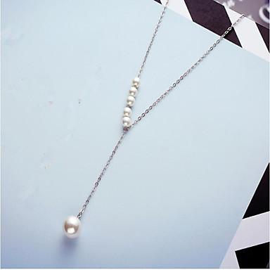 preiswerte Halsketten-Damen Perlen Süßwasserperle Pendant Halskette Y Halskette Lange Halskette damas Modisch Perlen Edelstahl S925 Sterling Silber Weiß Rose Rot 45+5 cm Modische Halsketten Schmuck Für Geschenk Alltag