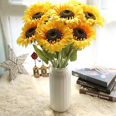زهور اصطناعية 5 فرع أسلوب بسيط Wedding Flowers عباد الشمس الزهور الخالدة أزهار الطاولة