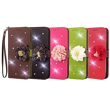 Недорогие Чехлы и кейсы для Galaxy Note 3-Кейс для Назначение SSamsung Galaxy Note 8 / Note 5 / Note 4 Кошелек / Бумажник для карт / Стразы Чехол Однотонный / Цветы Твердый Кожа PU