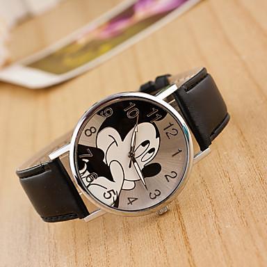 preiswerte Damen Uhren-Damen Uhr Armbanduhr Quartz Leder Schwarz / Weiß / Blau Armbanduhren für den Alltag lieblich Analog damas Zeichentrick Modisch Rot Rosa Hellblau