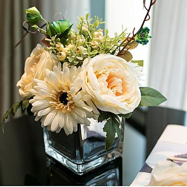 زهور اصطناعية 6 فرع كلاسيكي أوروبي Wedding Flowers الورود نباتات أزهار الطاولة