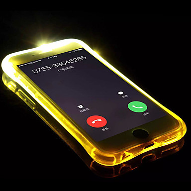 voordelige iPhone 7 hoesjes-hoesje Voor Apple iPhone X / iPhone 8 Plus / iPhone 8 LED-knipperlicht / Transparant Achterkant Effen Zacht TPU