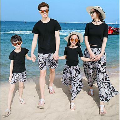 זול סטים של בגדים למשפחה-טישירט שרוולים קצרים פרחוני בוהו משפחה מבוגרים