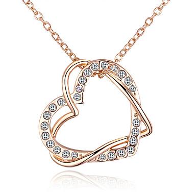 نسائي مزدوج البرمة قلائد الحلي حجر الراين قلب أوروبي موضة Heart ذهبي 40 cm قلادة مجوهرات 1PC من أجل مناسب للبس اليومي