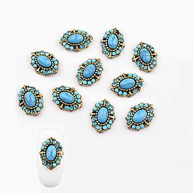10 pcs تصميم شعبي مجوهرات الأظافر من أجل فن الأظافر تجميل الأظافر والقدمين غطاءمغطى بالالماس / حجر كريم / مجوهلرات الأظافر