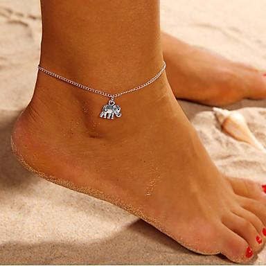 Χαμηλού Κόστους Κοσμήματα σώματος-Γυναικεία Βραχιόλι αστραγάλου πόδια κοσμήματα Ελέφαντας Ζώο κυρίες Απλός Βραχιόλι αστραγάλου Κοσμήματα Ασημί Για Καθημερινά Δρόμος Εξόδου