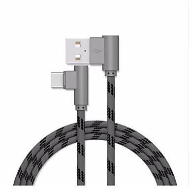 Tipo-C Cabo 1m-1.99m / 3ft-6ft Entrançado / Carga rápida Plásticos / Náilon Adaptador de cabo USB Para Samsung / Huawei