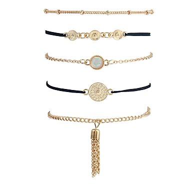 billige Damesmykker-5pcs Dame Opal Kjeder & Lenkearmbånd damer Vintage Koreansk Mote Hemp Rope Armbånd Smykker Gull Til Ferie Ut på byen