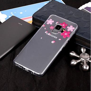 Недорогие Чехлы и кейсы для Galaxy S6-Кейс для Назначение SSamsung Galaxy S9 / S9 Plus / S8 Plus IMD / Прозрачный / С узором Кейс на заднюю панель Цветы Мягкий ТПУ
