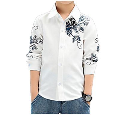 cheap Boys' Tops-Kids Boys' Basic Street chic Daily Floral Print Long Sleeve Regular Cotton Shirt Blue