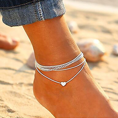 cheap Body Jewelry-Women's Ankle Bracelet feet jewelry Layered Stacking Stackable Heart Ladies Korean Fashion Anklet Jewelry Silver For Daily Going out