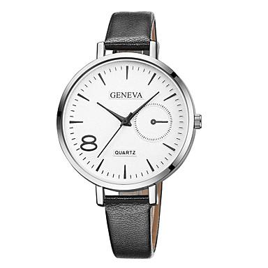 Geneva نسائي ساعة المعصم كوارتز جلد أسود / بني تصميم جديد ساعة كاجوال كوول مماثل سيدات كاجوال موضة - أسود / أبيض أسود / فضي أبيض / البيج سنة واحدة عمر البطارية