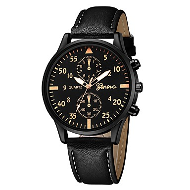 Geneva نسائي ساعة المعصم كوارتز جلد أسود / بني تصميم جديد ساعة كاجوال كوول مماثل كاجوال موضة - أسود / فضي أبيض / البيج أسود / ذهبي روزي سنة واحدة عمر البطارية