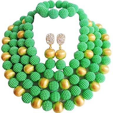 نسائي متعدد الطبقات مجموعة مجوهرات MOON سيدات, موضة, الأفريقي تتضمن قلادة السواحل أخضر / زهري / زهر فاقع من أجل زفاف مناسب للحفلات / أقراط