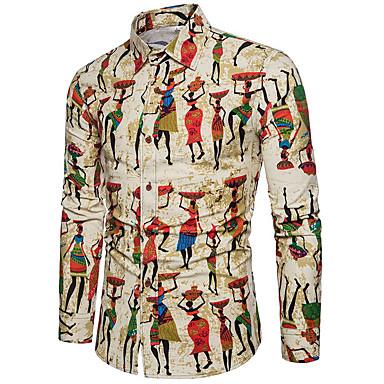 رجالي طباعة قميص, هندسي / كارتون / ترايبال / كم طويل / الربيع