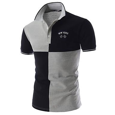 رجالي بولو ستايل قبعة القميص - أساسي بقع ألوان متناوبة أسود L / كم قصير / الصيف