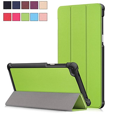 غطاء من أجل Lenovo Lenovo Tab 7 مع حامل / مغناطيس غطاء كامل للجسم لون سادة قاسي جلد PU