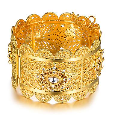نسائي أساور أساور اصفاد أشكال النحت سيدات عرقي مطلية بالذهب مجوهرات سوار ذهبي من أجل مناسب للحفلات هدية