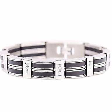 voordelige Heren Armband-Heren Schakelarmband Wide Bangle Stijlvol Schakelketting Creatief Stijlvol Europees Hip-hop Siliconen Armband sieraden Zilver Voor Dagelijks Straat / Titanium Staal