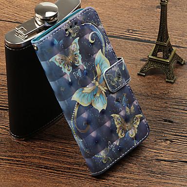 غطاء من أجل Samsung Galaxy S9 / S9 Plus / S8 Plus حامل البطاقات / مع حامل / قلب غطاء كامل للجسم فراشة قاسي جلد PU