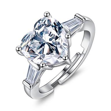 نسائي الماس مكعب زركونيا كومة متصنع خاتم قابل للتعديل نحاس قلب سيدات أنيق خواتم مجوهرات فضي من أجل هدية الفالنتاين ، عيد الحب قابل للتعديل