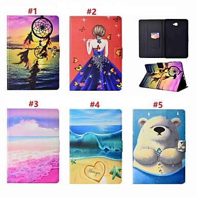 غطاء من أجل Samsung Galaxy Tab A 10.1 (2016) حامل البطاقات / مع حامل / النوم / الإيقاظ التلقائي غطاء كامل للجسم امرآة مثيرة / حيوان / ملاحق الأحلام قاسي جلد PU