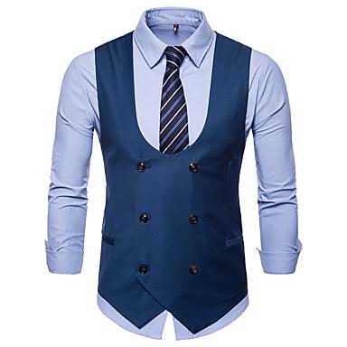 رجالي أسود جمل رمادي XXL XXXL XXXXL Vest قياس كبير الأعمال التجارية / أساسي لون سادة V رقبة نحيل / بدون كم / الخريف / الشتاء / عمل / نصف رسمي