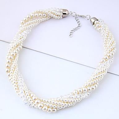 Dame Flettet Vredet Perlehalskæde Imiteret Perle Damer Europæisk Mode Hvid 40 cm Halskæder Smykker 1pc Til Fest / aften Daglig