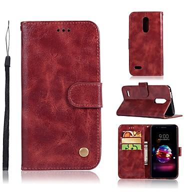 غطاء من أجل LG LG X Style / LG X Power / LG V30 محفظة / حامل البطاقات / مع حامل غطاء كامل للجسم لون سادة قاسي جلد PU / LG G6