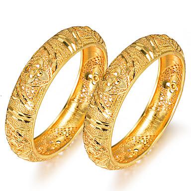 economico Bracciali-2pcs Per donna Braccialetti Bracciali a polsino Classico Creativo Donne Lusso Etnico Placcato in oro Gioielli braccialetto Giallo Per Feste Regalo