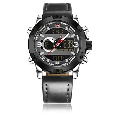 זול שעוני גברים-NAVIFORCE בגדי ריקוד גברים שעוני שמלה שעון יד שעון דיגיטלי קווארץ עור אמיתי שחור / חום 30 m עמיד במים עיצוב חדש LCD אנלוגי-דיגיטלי קלסי יום יומי אופנתי - שחור שחור וזהב לבן וכסף