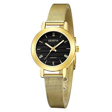 Geneva نسائي ساعة المعصم ساعة ذهبية كوارتز أسود / فضة / ذهبي تصميم جديد ساعة كاجوال كوول مماثل سيدات كاجوال موضة - أسود وذهبي فضي / الأبيض أسود / فضي سنة واحدة عمر البطارية