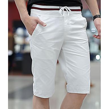billige Herrers Mode Beklædning-Herre Basale Plusstørrelser Bomuld Tynd Chinos / Shorts Bukser - Ensfarvet Sort