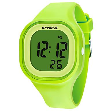 levne Pánské-SYNOKE Pánské Dámské Sportovní hodinky Digitální hodinky Digitální Silikon Černá / Bílá / Modrá 50 m Voděodolné Kalendář Chronograf Digitální Módní - Zelená Modrá Růžová / Stopky / Svítící