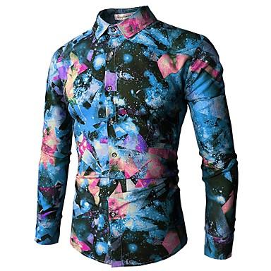 economico Abbigliamento uomo-Camicia Per uomo Attivo / Essenziale Con stampe, Fantasia geometrica Colletto classico Verde XL / Manica lunga