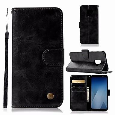 غطاء من أجل Samsung Galaxy A6 (2018) محفظة / حامل البطاقات / مع حامل غطاء كامل للجسم لون سادة قاسي جلد PU