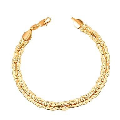 رجالي أسورة ربط سلسلة خلاق موضة نحاس مجوهرات سوار ذهبي / أسود / فضي من أجل هدية مناسب للبس اليومي