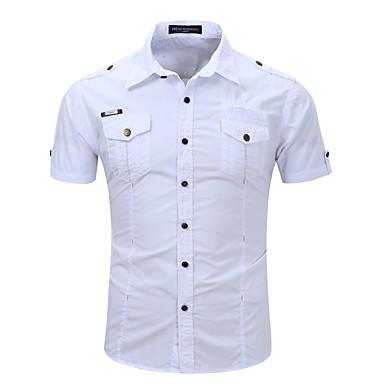 رجالي قميص لون سادة أبيض M / كم قصير