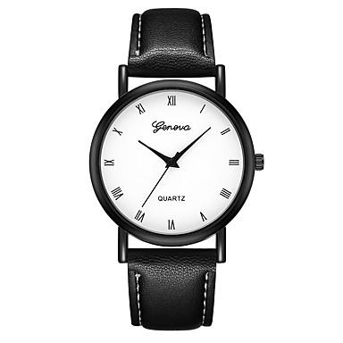 Geneva نسائي ساعة المعصم كوارتز جلد أسود / بني تصميم جديد ساعة كاجوال كوول مماثل سيدات كاجوال موضة - أسود-أسمر أسود / أبيض أبيض / البيج سنة واحدة عمر البطارية